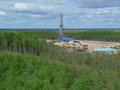 Aerial view of Pad #1 at Lineynoye oil field - Summer 2010