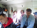 PetroNeft VP, Karl Johnson (centre), on helicopter trip to Lineynoye