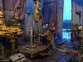 Rig floor on production drilling rig